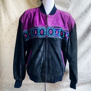 Vintage Aztec Suede Bomber jacket